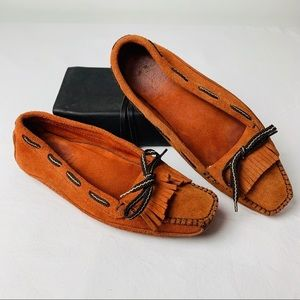 Rafe New York Orangey Tan Suede Moccasin Loafers